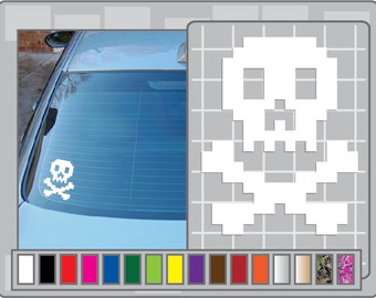 8 Bit Skull & Crossbones Cut Vinyl Decal Car Laptop Pirate Sticker for Almost Anything