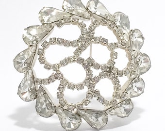 Vintage Unsigned Clear Pear & Round Rhinestone Domed Brooch, Scroll Filagree, Open Metalwork. Pale Gold Setting.