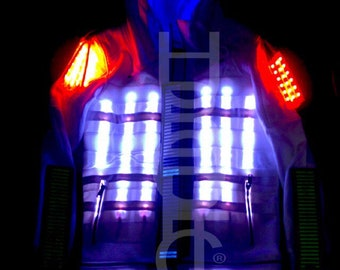 Custom Hoodie LED Clothing White Jacket JPFX39 Robot Costume Stilt Dancer for Gigs DJ Rave Glow Party Cosplay LED Wear Light Suit Customized