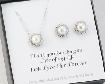 Mother of the Bride Gift, Mother of the Groom Gift. Pearl Jewelry Set, Bridal jewelry Set, Bridesmaids Gift, Maid of Honor Gift
