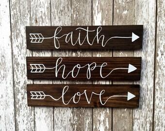 """Hand Painted """"Faith Hope Love"""" Arrow Signs"""
