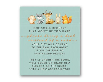Please Bring a book insert, Woodland Baby Shower, Baby Shower Book Insert, Invitation Insert  - Instant download  0548blue