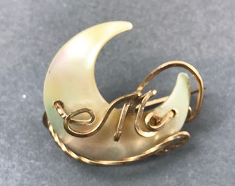 Vintage Mother of Pearl Crescent Moon Letter M Pin Brooch