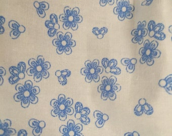 Blue floral fabric, Rose and Hubble  100% cotton poplin fabric UK