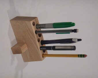 Pen Pencil Holder - Wooden Desk Accessory