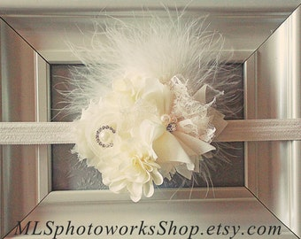 The Ivory Fusion Headband - Vintage Style Feather, Flower & Rhinestone Baby Girl Headband - Ivory Wedding Hair Accessory