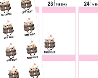 Date Night Otter Planner Stickers, Otter Stickers, Date Night Stickers, Date Night Planner Stickers