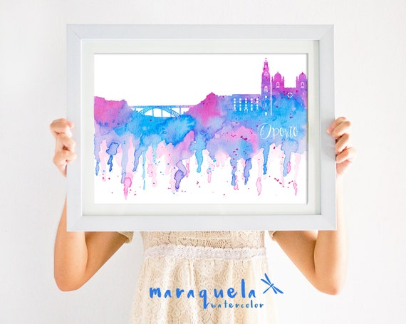 PORTO Skyline Blue and Pink hues, watercolor. PORTUGAL Landscape print painting poster gift decoration city Oporto homedecor wall travel art