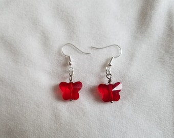 Sparkly Red Butterfly Earrings