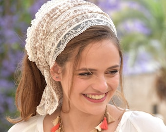 Imperial White Laces Headband Tichel , Bandana Snood, Head Scarf, Half Head Covering, Jewish headcovering, Scarf, Bandana, Apron