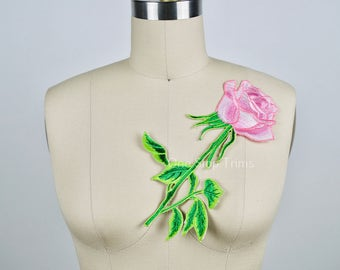 Pink Rose Patch/ Pink Flower Patch Large Pink Chablis Embroidery Flower Applique. Green Stem and Metallic Green Thread work Leafs. Iron on.