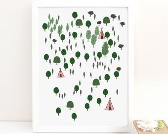 Forest illustrated print - forest print illustration trees woodland print forest art forest wall art woodland wall art nursery wall art