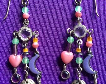 Lucy Isaacs 1980s Semi-Precious Stones Crescent Moon Acorn Sterling Dangle Pierced Earrings