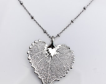 Sterling Silver Dipped Aspen Leaf Necklace, Leaf Aspen Pendant, Real Leaf, Nature Jewelry, Fall wedding, Bridesmaid Gift