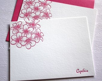 Plumeria Personalized Letterpress Stationery Magenta Orange