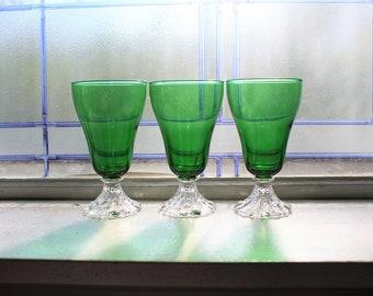 "3 Vintage Green Burple Wine Goblets 5"" Anchor Hocking Glass 1950s"