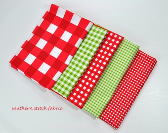 Christmas Red and Green Gingham Fabric Bundle - Riley Blake Designs - Perfect for Christmas. 100% cotton - Select Your Length
