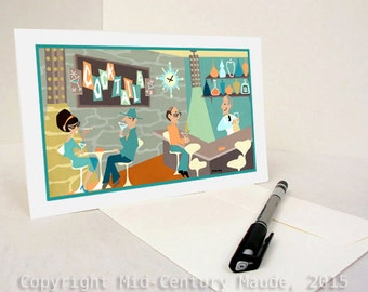 Cocktail Bar Martini Lounge Greeting Card Retro Mid Century modern 1950s 1960s style