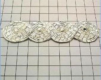 """FS2239  Silver Braided Rhinestone Beaded Applique 4.75""""  (FS2239-SL)"""