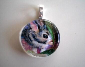 Baby Bunny Gem Wafer Pendant