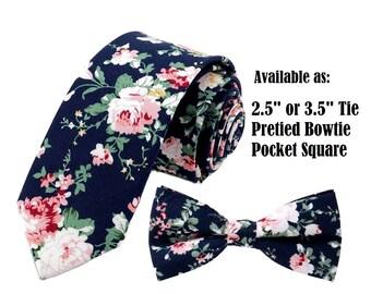 """Dark Blue Pink Floral Tie  or Bow Tie or Matching Pocket Square Navy Blue Slim 2.5"""" Regular 3.5"""" Groomsmen Ties Groomsman Wedding Necktie"""