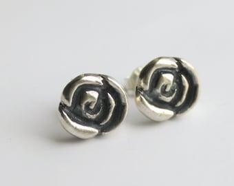 Sterling Silver Rose Stud Earrings, Silver Rose Studs, Black Rose Studs