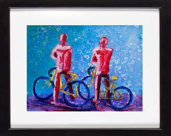 Abstract Figurative Picture Print of Bicyclers - of Pink Bicycle Riders & Blue Bikes Painting, Home Apartment Decor