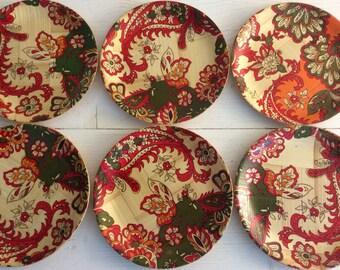 1960s Vintage Plates - Bamboo Red Orange Green Floral Picnic Plates - Camping Plates - Glamping Plate - Vintage Caravan - Six Plates
