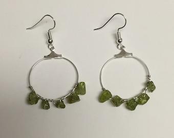 Peridot Silver Hoop Wire Wrapped Earrings