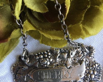 Sterling Sherry Decanter Tag Vintage Silver Metal Liquor Label Grapevine IF & Son LTD Israel Freeman - #4994
