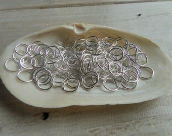50 silver 10 mm open jump rings