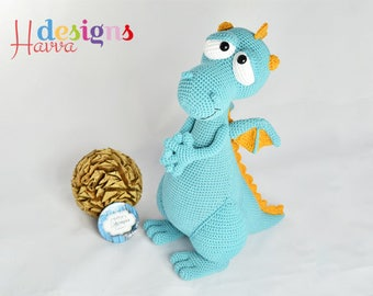 Crochet Pattern - Blummy The Dragon (Amigurumi Toy Pattern)