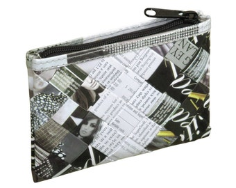 Zip coin purse using magazine paper and office document paper - FREE SHIPPING - eco-friendly makeup bag, sustainable purse, vegan wallet