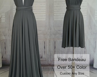 Slate grey Bridesmaid Dress-Wrap Dress Convertible Infinity Dress Evening Dress-C28#B28#
