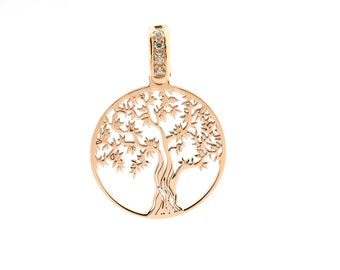 Tree of Life pendant 925 sterling silver rose gold plated hypoallergenic contromaglia rose gold plated diameter mm20