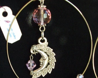 HOT ITEM Sale! FLAMING Moon Hoop Earrings, Swarovski crystals, Sterling Silver,Light pink faux pearls, RedRobinArt, Grigsby Galery and Gifts