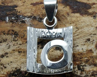 Sterling Silver Circle on Square Pendant with free chain  (P512)