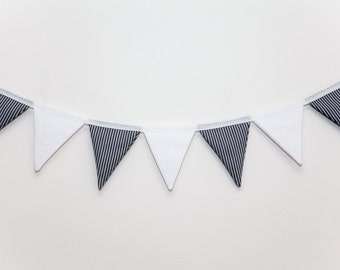Billy Vertical Grey Striped and White Cotton Bunting
