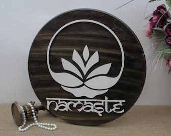 Namaste Wood Sign, Lotus Flower, Diwali Decor, Yoga Wood Sign, Indian Home