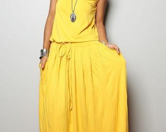 PLUS SIZE Dress / Yellow Maxi Dress -  Sleeveless dress : Autumn Thrills Collection No.9   (New Arrival)