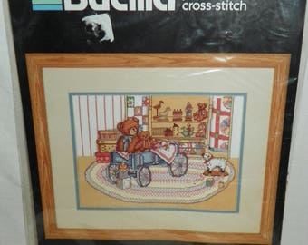 Bucilla Grandma's Attic Printed Counted Cross-Stitch Kit 40378 Teddy Bears Wagon Old Toys 1989