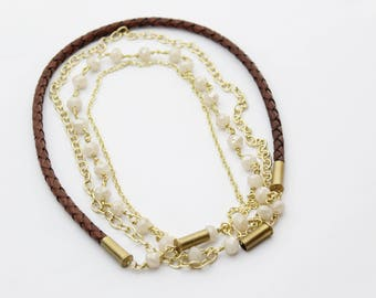 Creamy Beaded Bolo Leather Bullet Necklace
