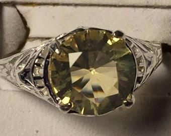 Citrine silver filigree ring  size 5.75