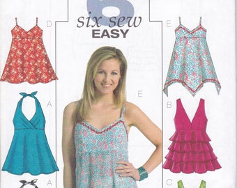 FREE US SHIP Butterick 4800 Sewing Pattern 6 Easy Halter Tops Summer Size 6 8 10 12 14 16 18 20 22  Bust 30 32 34 36 38 40 42 44 Plus New