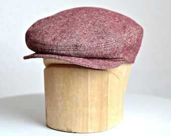 Men's Flat Cap in Red and White Tweed - Retro Driving Cap - Made to Order