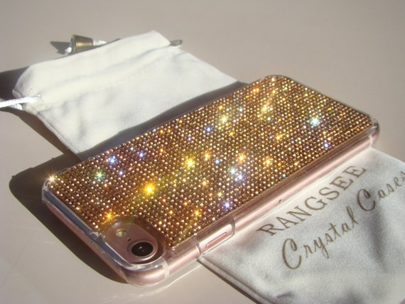 iPhone 8 Case / iPhone 7 Case Rose Gold Rhinestone Crystals on Transparent Clear Case. Velvet/Silk Pouch Included,