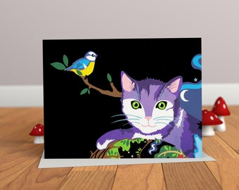 The Witch & the Rainbow Cat - Cat Card - Childrens Card - Animal Card
