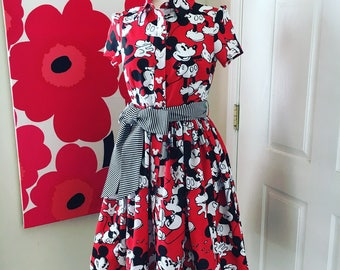Custom Made to Order Mickey mouse shirt dress with bow sash Sz S to XL