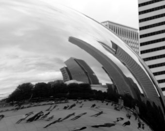 Chicago The Bean Cloud Gate Sculpture Millennium Park Black and White Skyline Urban Fine Art Photo Print Decor by Rose Clearfield on Etsy