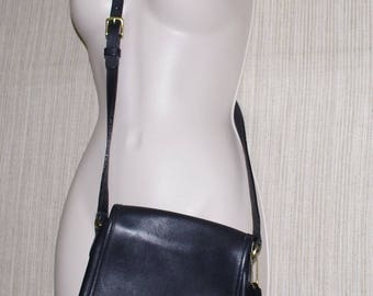 Coach J8C-9076 Companion Flap Legacy Black Leather Crossbody Shoulder Handbag Small